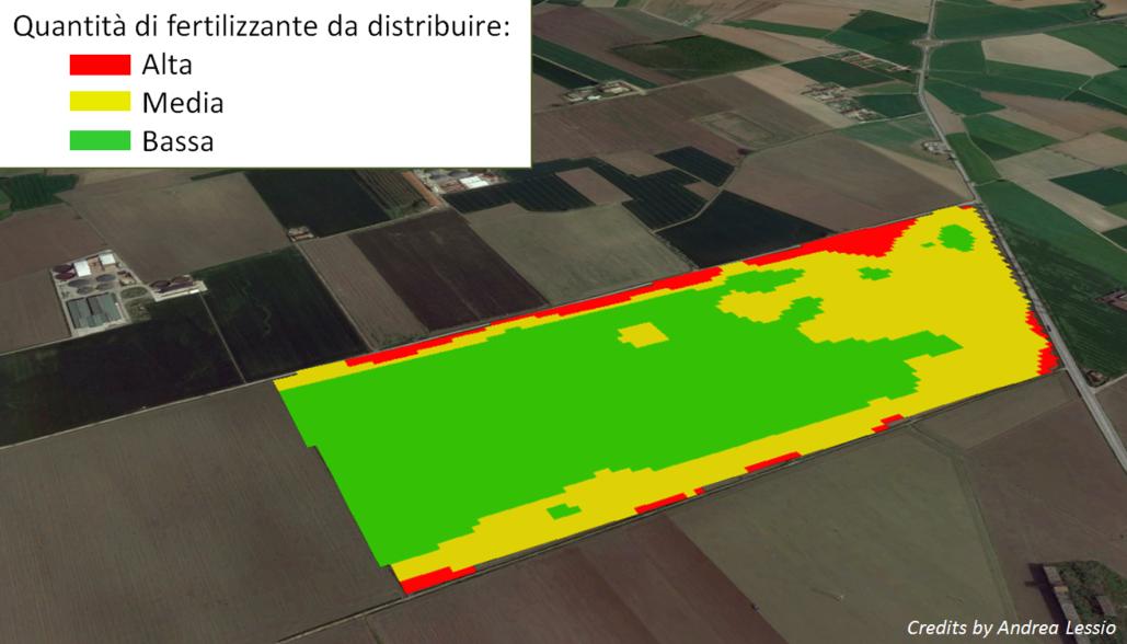 Il telerilevamento individua le aree che necessitano una maggior quantità di fertilizzante